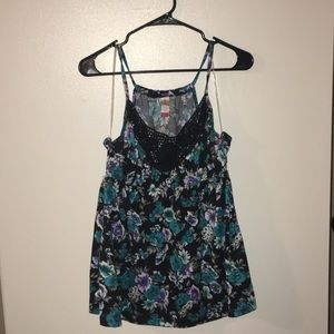 Floral with crochet tanktop